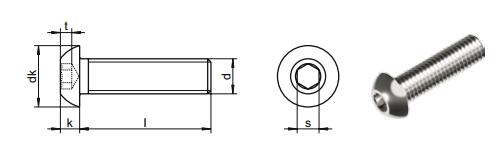 ISO7380 Titanium button head bolts