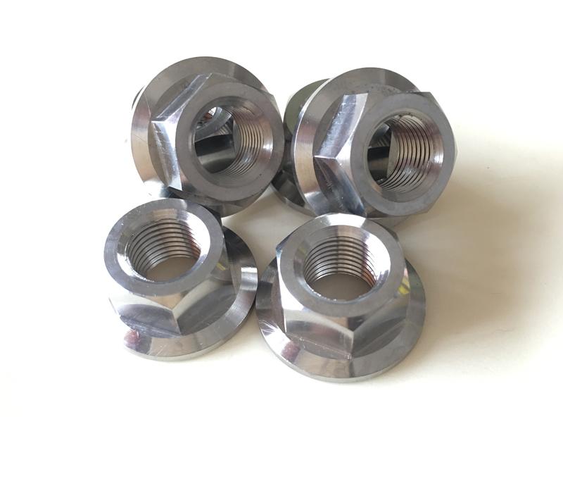Ti6al4v Titanium flange nuts M10x1.0mm